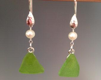 "Sea glass earrings, sea glass jewelry, Sterling Sea Glass Jewelry - gift - green earrings, artisan jewelry, pearl jewelry -""Beach Pearls"