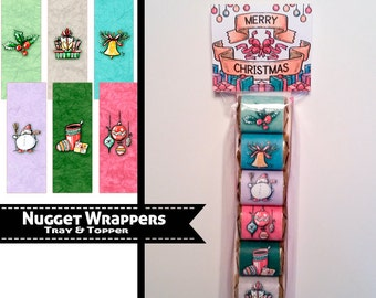 Hershey Nuggets Wrapper, Christmas in Watercolors, Holiday wrapper, Pretzel Bag Toppers and trays