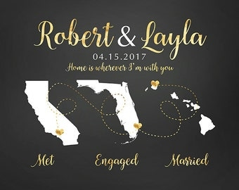 Met, Engaged, Married Maps, Fiance, Husband, Personalized Gift, Maps, Travel, Names, Date, Engagement, Anniversary, Honeymoon Gold | WF336