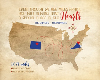 Moving Gift, Long Distance Family Friends, Miles Apart Map, Nautical Compass, Red, Blue, Navy - Gift for Navy Wife, Friendship | WF541