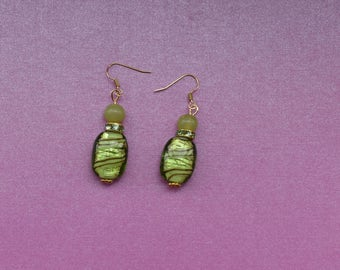 Bright green drop earrings, light green earrings, striped earrings, vibrant earrings, green lampwork earrings, lime green earrings, gift