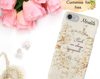 Pearl iPhone Case, Pearl Quote Watercolor Phone Case, Phone Wallet, iPhone 6 7 Plus, Samsung Galaxy Case, S6 S7 S8 Edge Plus Fashion Jewelry