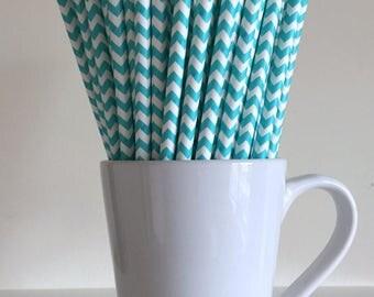 Teal Paper Straws Aqua Chevron Party Supplies Party Decor Bar Cart Cake Pop Sticks Mason Jar Straws  Party Graduation