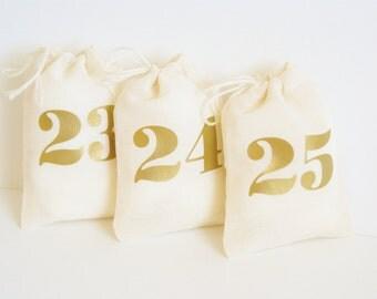 Gold Advent Calendar Bag Set - 3x4 Inch - Advent Kit - Christmas Countdown - Days Until Christmas -  25 Small Reusable Muslin Fabric Bags