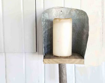 Handmade Farmhouse Candle Sconce ~ Repurposed and Upcycled ~ Rustic Cottage Chic