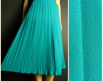 80s WOOL green turquoise accordion pleated midi skirt u.k. 8 - 10 s / m