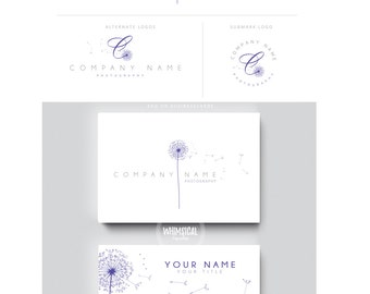 SOFT dandelion 2 logo brush rose initials businesscards  simple modern feminine branding- logo Identity artist makeup wedding photographer