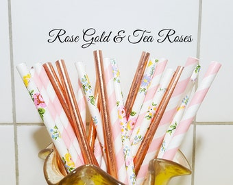 Paper Straws, Rose Gold Floral & Pink Party Straws, Vintage Straws, Party Supplies, Wedding Supplies, Stripe Straws, Decorative Paper Straws