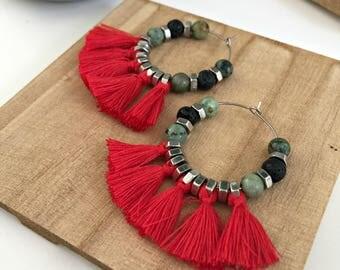 Red tassels hoop earrings, big red earrings, green natural stone earrings, boho chic big tassel earrings, tribal hoop earrings