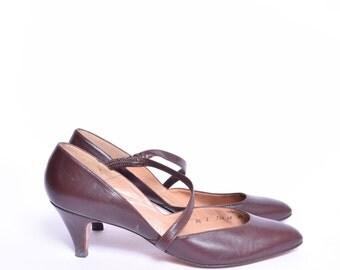 Vintage 80's Brown Heel Pumps Shoes