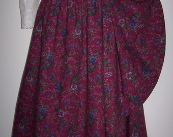 Laura Ashley vintage wild bouquet magenta cotton-wool blend wrapped effect skirt, size 14 UK