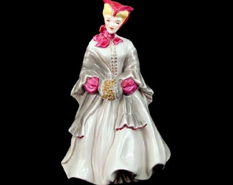 Florence Ceramics Camille Figurine Fuchsia Trim Grey Dress Gold Muff Vintage 1950s