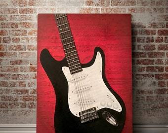 Original Guitar Oil Mixed Media Music Painting 16x20""