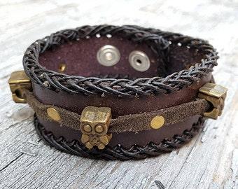Steampunk Owls Leather Wristband Cuff -Steampunk Bracelet-Steampunk cuff-steampunk Girlfriend Ladies gift
