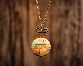 FREE WORLDWIDE SHIPPING - Feminine Bronze Locket - Flamingo - Bow - Large Locket Long Chain