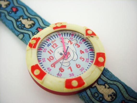 Armbanduhr kinder flik flak  Swatch-Uhr in blau Flik Flak 1997 Kinder Armbanduhren zu