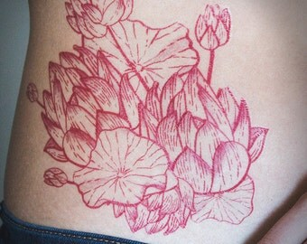 Red Line Lotus Lillypad Floral Flowers Nature Beautiful Serene Temporary Fashion Tattoo Original Hand Drawn