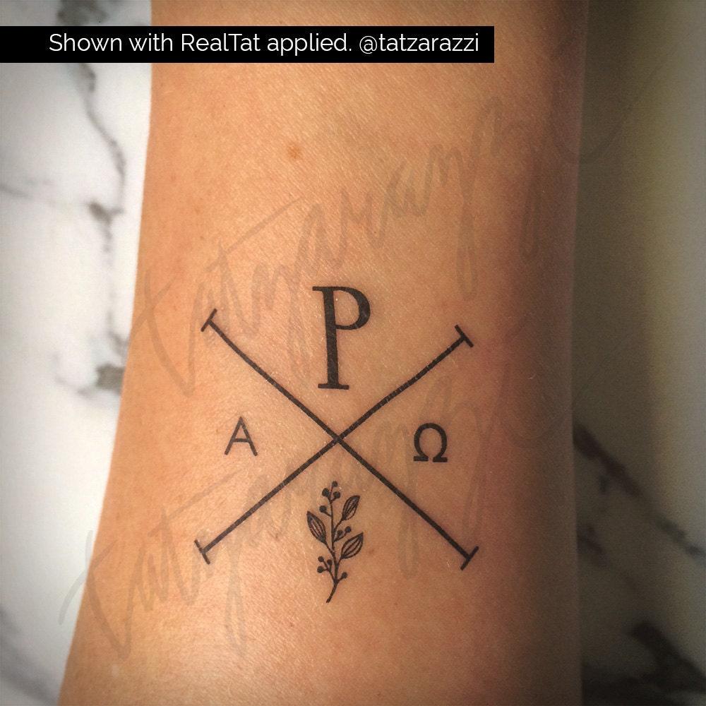 Chi rho temp tattoo temporary tat christian symbol hipster for Christian tattoo shop