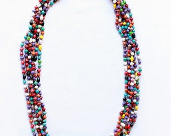 Multi-stand African beaded necklace