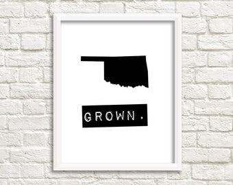 Oklahoma wall art, personalized home decor, Oklahoma signs, black and white map art, state signs, Oklahoma decor Oklahoma state Oklahoma map