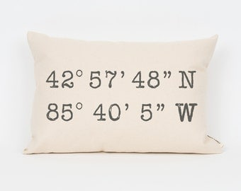 Custom Coordinates Pillow, Home & Living, Home Decor, Throw Pillow, Decorative Pillow, Rustic Home Decor, Personalized Gift Idea, Gift Idea