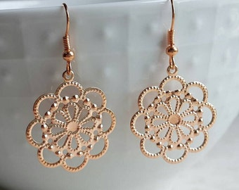 Rose Gold Filigree Lace Earrings, Round, Romantic Wedding Bridal Jewelry, Boho Earrings, Bridesmaid Gift, Vintage