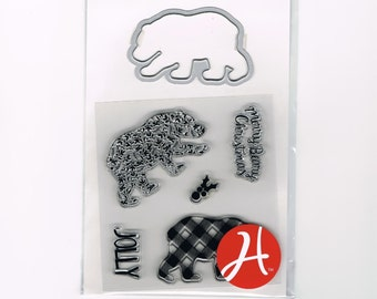 CHRISTMAS POLAR BEAR Merry Beary Christmas Jolly Clear Stamp and Die Set by Hampton Art Sc0739 cc22