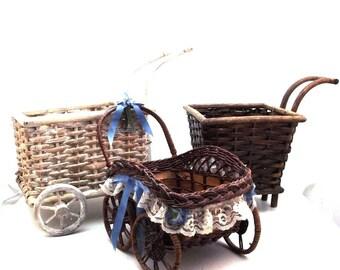 Vintage wicker baskets with wheels, old wicker wheeled baskets, decorative baskets, rare baskets with wheels, wicker baskets