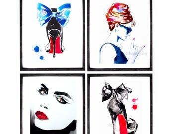 Set of 4 Fashion Illustrations Art Prints of Watercolor Ink Paintings Audrey Rocks Fashionista High Heels Beauty Salon Decor Salon Ideas