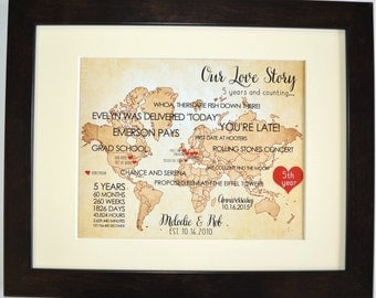Custom 1st First Wedding Anniversary Gift For Husband Wife Him Her Couples Who Travel Map Heart Love Unique Wall Art Gift Ideas 11x14 Print