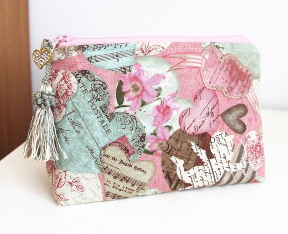 Victorian Hearts Makeup Bag Cosmetic Bag