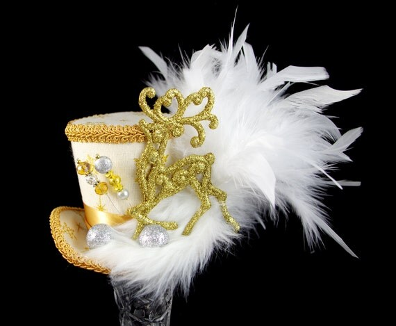 Cream, Gold, and White Reindeer Holiday Christmas Medium Mini Top Hat Fascinator, Alice in Wonderland, Mad Hatter Tea Party, Derby Hat