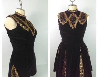 STUNNING Vintage Black Velvet Romper Jumpsuit Bodysuit Mini Skirt Pinup Girl Burlesque Showgirl Costume