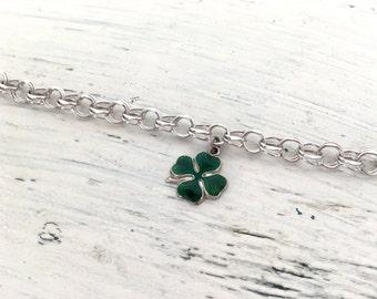 Sterling Silver Charm Bracelet | St Patricks Day | Four Leaf Clover | Silver Bracelet | Enamel Charm | Good Luck Charm Token | Clover Charm