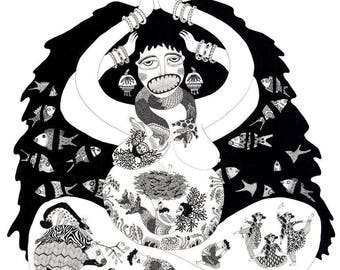 THE MOTHER, kali, fairy tale, Print, Indian art