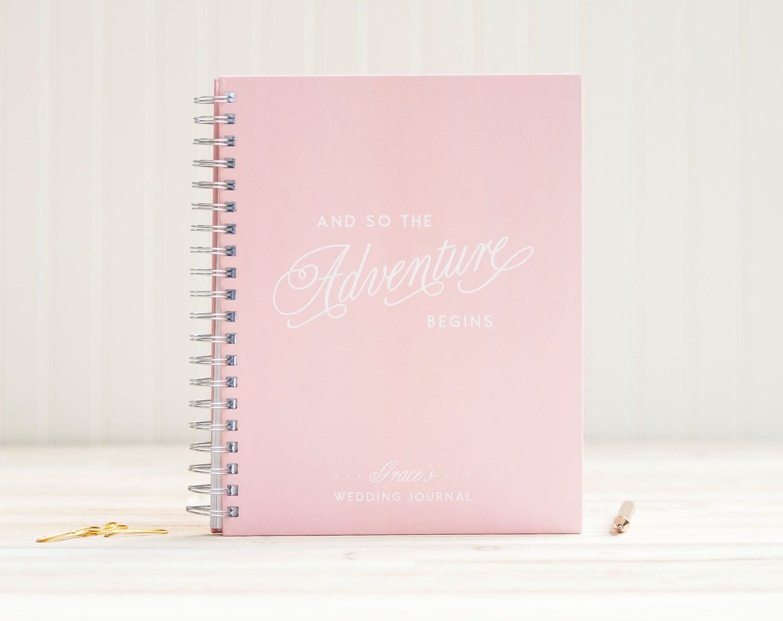 Wedding Journal Planner Book Engagement Binder Guide Personalized Spiral Blush Pink