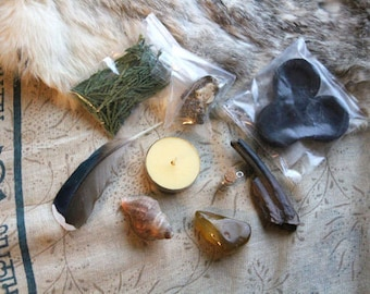 End of Season Sale Woodland Alter Hedge Witch Set/Horse Tooth Specimen/Shell and Feathers/Ritual Alter Kit/Pagan Supplies/Witchcraft Supply
