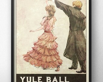 Yule Ball Poster - 1930s Retro Style - Inspired by Harry Potter (Pink Dress)