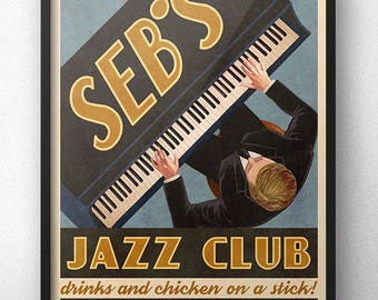 Seb's Jazz Club Retro Vintage Ad Poster - Inspired by La La Land