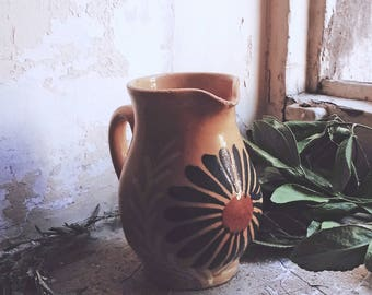 Folk pitcher clay yellow flowers painted by hand, rustic, retro style, rustic, country, boho, Bohemian folk Gypsy