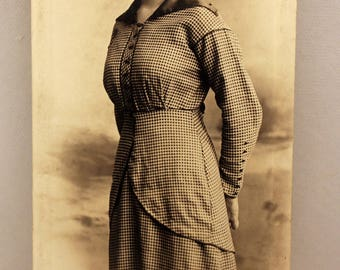 Sepia Photograph Woman in Check Dress 1910s Fashion Studio Photo