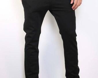 Black Cotton Casual Pants.