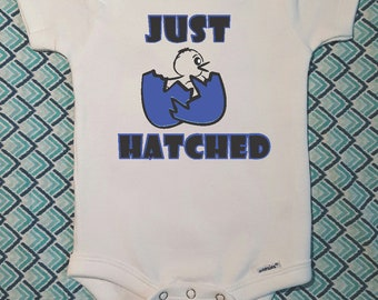 Baby Boy Just Hatched Baby Bodysuit. Custom Organic Onesie. Take Home Outfit. Newborn Outfit