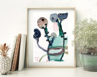 Cactus boho botanical plant art print from watercolour painting. Modern botanic wall art on recycled paper. Size A5 art print card