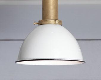 White Shade - Brass Ceiling Mount Light