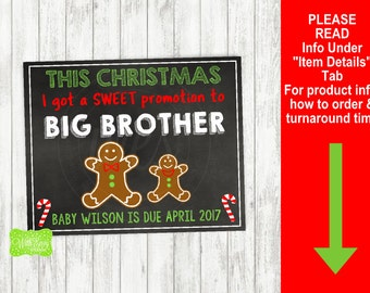 Christmas Pregnancy Announcement Sign - Printable Pregnancy Announcement Sign - Digital Chalkboard Sign - Big Brother Pregnancy Sign