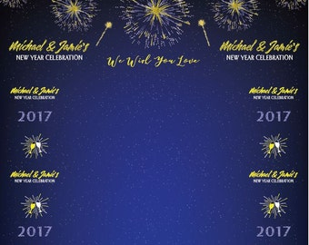Step and Repeat Light Up the Night New Year Eve Backdrop Banner | Customizable Colors and Copy for Any Occasion | Free Snapchat Geofilter
