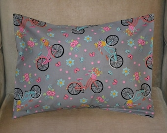 Travel Pillow Case / Child Pillow Case VINTAGE Bikes / ANTIQUE BICYCLE / Girls Bicycles / Bicycle