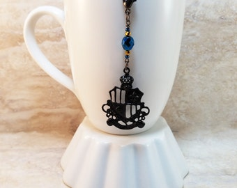 Ravenclaw House Colors-Hogwarts Inspired Black Crest Tea Infuser Charm-Blue and Bronze-Czech Glass Bead-Harry Potter-Personal Tea Party