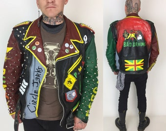 70's Leather Punk Jacket Hand Painted Motorcycle Jacket Mens Large - Red Green Yellow Rastafari Studded Circle Jerks PUNK Reggae Large 40